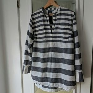 Merona Gray Stripe Collarless Popover Long Sleeve